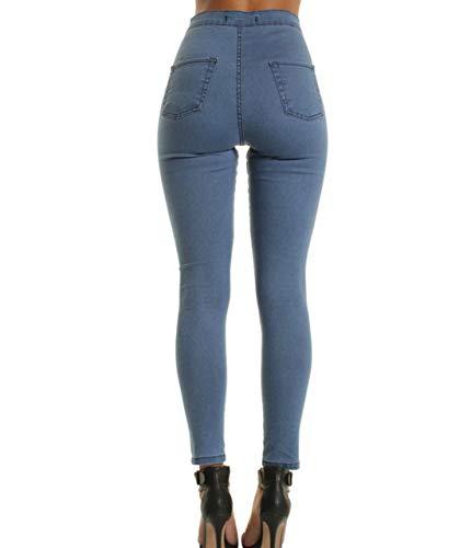 Blue 003 dchire Haute dchire et Taille pour Skinny Femme Jeans Jegging MISSKERVINFENDRIYUN qwdPfq