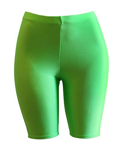 PnK Bike Shorts Women - Active Biker Yoga Shorts, Sexy Spandex Boyshort (NEON Lime, Small)