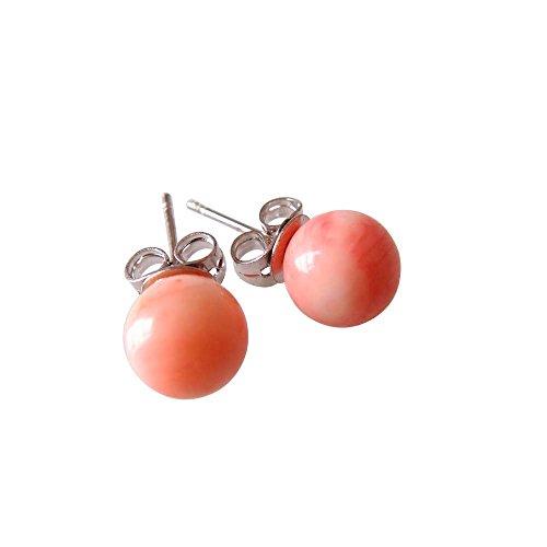 Sundysh Coral Stud Earrings, Pink Simple Bohemian Ball Stud Earrings For Women - Pink Coral Earrings