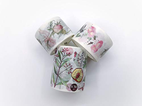 Pink Roses & Floral botanicals washi Tape Set 3 Rolls for DIY, Crafts, Scrapbook, Gift wrap, Custom Cards, Wall Paper Borders. Incl Extra Wide - Cut Border Wallpaper Outs