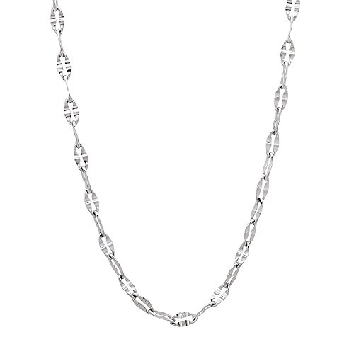Solid Stainless Steel 2mm Flattened Elongated Link Chain Necklace, 16 inches + Jewelry Polishing Cloth (Layered Link)