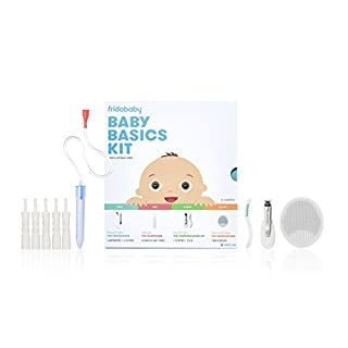 Baby Basics Care Kit by FridaBaby | a Registry Must Have Gift Set Includes NoseFrida, NailFrida, Windi, DermaFrida & Silicone Carry Case - a Great Value to Keep Your Baby Healthy & Clean
