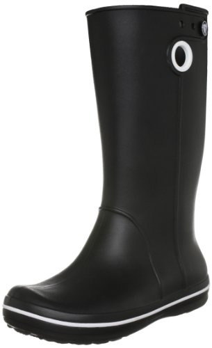 crocs Women's Crocband Jaunt Rain Boot,Black,8 M US