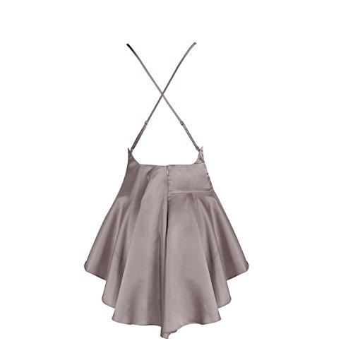 Cintura De Mangas Baile Banquete Cuello Elegante Cumpleaños gris Sin Halter Cóctel Chica Alta Atractivo Mujeres Vestido 47f8Cx0qw