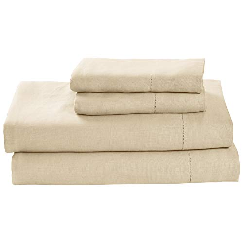 Stone & Beam Belgian Flax Linen Bed Sheet Set, Breathable and Durable, Queen, Natural