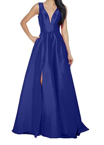 Charmant Linie Rock Damen A Einfach V Lang Ballkleider Brautmutterkleider Abendkleider Royal Ausschnitt Blau Abschlussballkleider ww6rRUqv