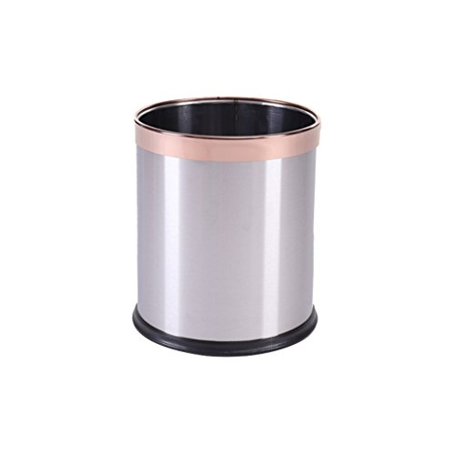 LXJTrash can Stainless Steel Trash can, Household paperless 篓 (Color : Silver, Size : 13L) ()