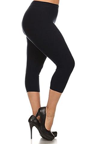 Leggings Depot Women's Popular Basic Capri Cropped REGULAR and PLUS Solid High Waist Leggings (Plus (Size 12-24), Black)