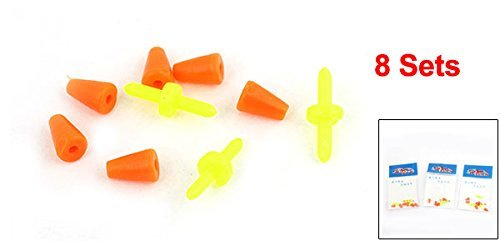 8 Sets Yellow Bar Rubber Socket Orangered de Bouchons Pêche Float