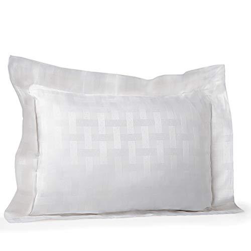 Pratesi Portofino Jacquard Standard/Queen Pillow Sham White Egyptian Cotton Made in Italy