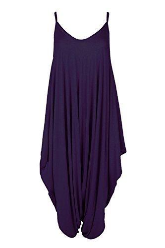 Oops Outlet Women's Thin Strap Lagenlook Romper Baggy Harem Jumpsuit Playsuit M/L (US 8/10) Purple