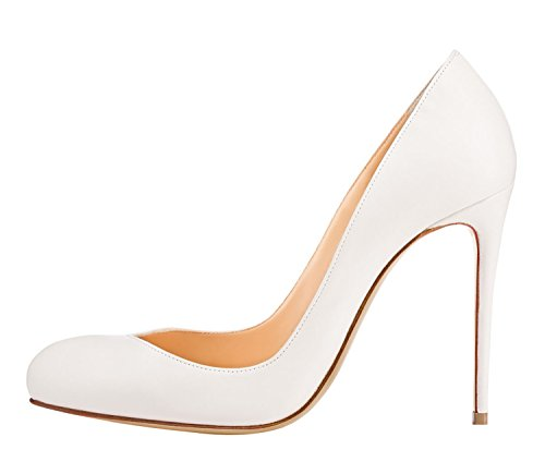 Guoar Donna Stiletto Punta Tonda Tacchi Alti Pompe V-cut Top Prom Party Dress Scarpe Taglia 5 - 12 Us Bianco