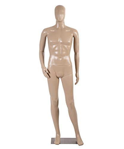 (Male Full Body Realistic Mannequin Display Head Turns Dress Form w/Base)