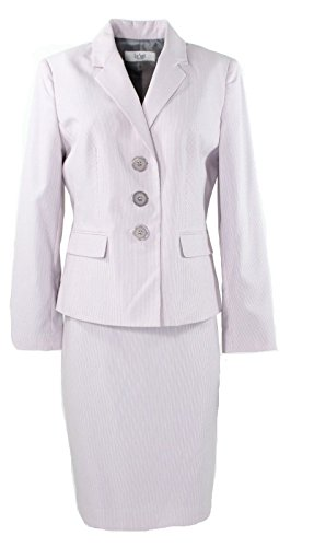 [Le Suit The Hamptons Women's Pinstriped Skirt Suit Set Pink 10] (Pinstriped Skirt Suit)