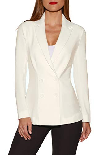 (Beyond Travel Women's Wrinkle-Resistant Solid Color Knit Double-Breasted Jacket Ivory Coast 2)
