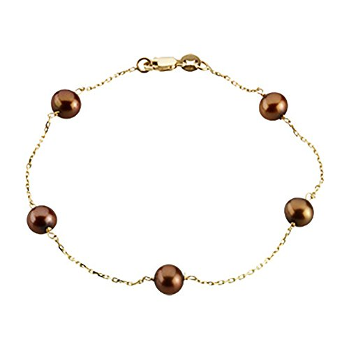 14K Yellow Gold Freshwater Dyed Chocolate Cultured Pearl Station Bracelet - - Pearl Freshwater Bracelet Chocolate