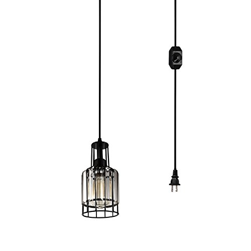 Creatgeek Industrial Plug-in Crystal Pendant Light with 15 Ft Cord and In-Line On/Off Dimmer Switch for Kitchen Island, Dining Room