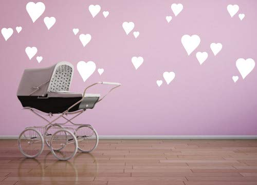Heart Wallpaper - Removable White Hearts Wall Decals for Kids Room Decoration +