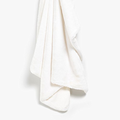 (Max Studio Home Modern Faux Fur Throw By MAXSTUDIO Plush Lightweight Blanket in Beige Tan Gray (Pure White))