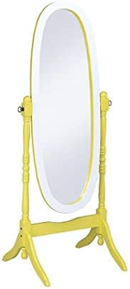 ORE International N4001-YEL/WH Oval Cheval Standing Mirror