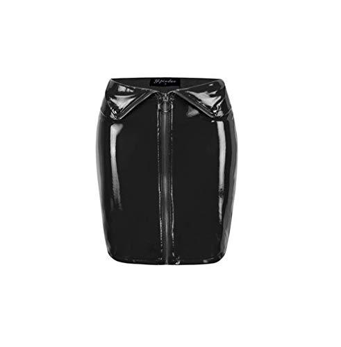 (Yipinduo Women's Shiny Liquid Metallic Wet Bodycon Pencil Skirts Leather Skirt PU Short Skirts (L, Black))