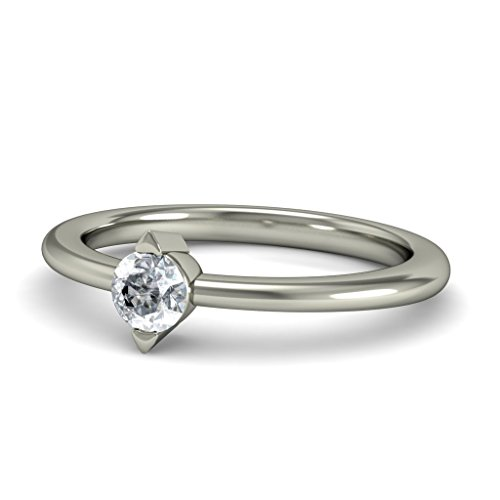 18K Or Blanc, 0,15carat Diamant Taille ronde (IJ | SI) en diamant