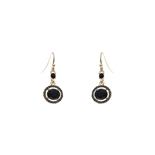 - Rosemarie Collections Women's Rhinestone and Crystal Vintage Style Drop Earrings (Jet Black)