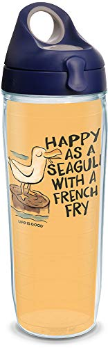 Life Is Good Water Bottle - Tervis 1314916 Life is Good - Happy As A Seagull Insulated Tumbler with Wrap and Lid, 24 oz Water Bottle - Tritan, Clear