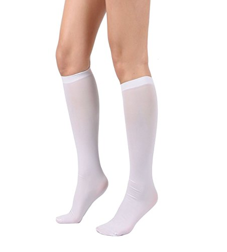 Women's Semi Opaque Knee High Trouser Sock 3pair / 6pair (One Size : XS to M, 3pair-White)