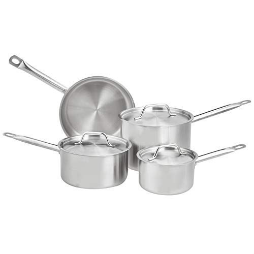 AmazonCommercial 7-Piece Stainless Steel Induction Ready Cookware Set