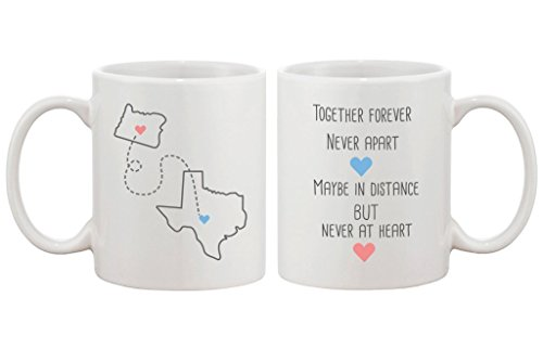 Long Distance Relationship Gift for Long Distance Couples, Friends, and Family - Together Forever Never Apart Customizable Matching Coffee Mug Cup Set