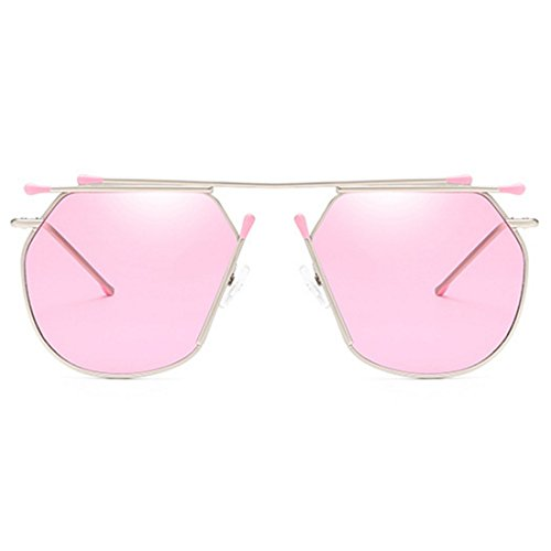 Metal Sunglasses Plateado Rosa Redondo Sunglasses Inlefen para Irregular Ladies Fashion Cateye Lente Mujeres Sn6EtF
