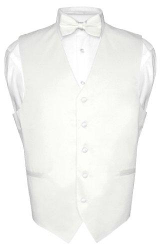 Men's Dress Vest & BowTie Solid WHITE Color Bow Tie Set for Suit or Tuxedo Med