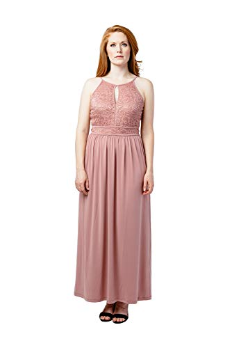 Cleo Maxi Dress - Candalite Cleo Glitter Lace Social Gown,Great Fit Social Dress (Ash Rose, Medium)
