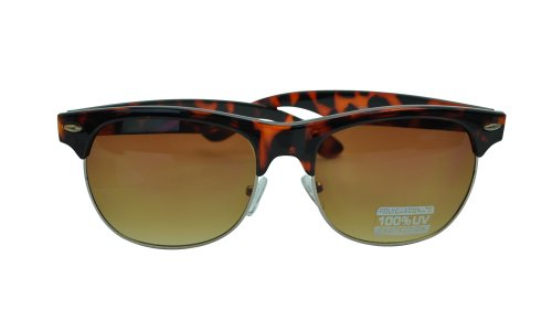 CLASSIC TORTOISE SHELL CLUBMASTER STYLE SUNGLASSES-Brown - Sunglasses Shell Clubmaster Tortoise