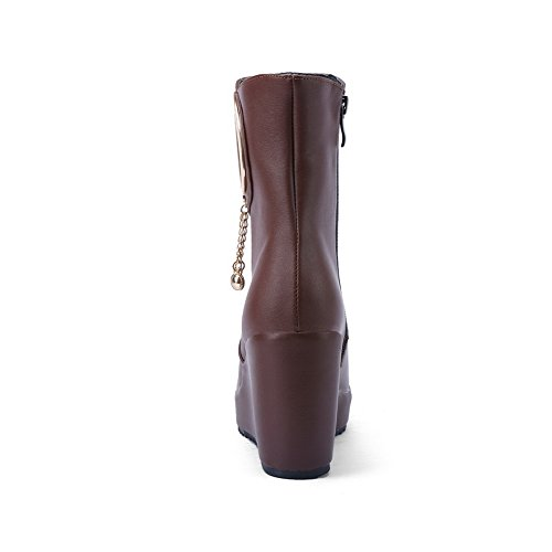 Chukka Boots Ladies Classic Metal Ornament Round Toe Imitated Leather Boots Brown tsYnMjS1z