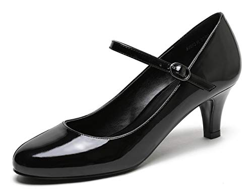 Patent Heel Low Leather - CAMSSOO Women's Closed Toe Low Mid Heel Ankle Strap Dress Pump Shoes Black Patent PU Size US9.5 EU43