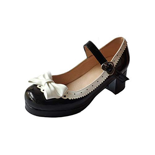 ELFY Women's Cute Lolita Cosplay Shoes Bow Mid Chunky Heel Mary Jane Pumps black1 11