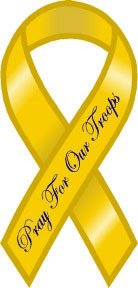 Yellow Pray For Our Troops Mini Ribbon Magnet