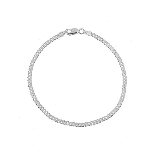(Kezef Creations 925 Sterling Silver 3mm Miami Cuban Link Chain Bracelet 8 Inch)