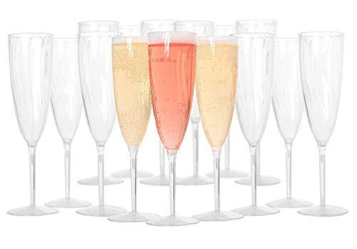 Plastic Champagne Flutes - Plastic Wine Glasses for Weddings and special Celebrations - 6 oz Disposable Champagne Flutes Set of 18 - One Piece Plastic Champagne Glasses - Mimosa Glasses - BPA Free -