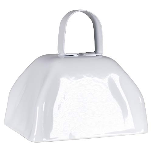 Metal Cowbells with Handles 3 inch Novelty Noise Maker - 12 Pack (White)]()
