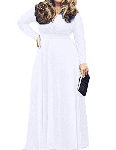 POSESHE Women's Solid V-Neck Long Sleeve Plus Size Evening Party Maxi Dress White 3XL (Long Sleeve V Neck Dress Plus Size)