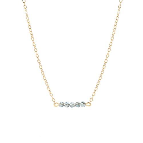 (Befettly Mini Gemstone Bar Necklace Delicate Crystal Bead Bar Minimal Delicate Handmade 14k Gold Fill Boho Chain-CK7-London)