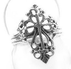 Sterling Silver Victorian Style Open Cross Ring Size 8(Sizes 4,5,6,7,8,9,10)