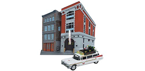 1959 Cadillac Ambulance (1959 Cadillac Ecto-1A Ambulance Firehouse Exterior Diorama from Ghostbusters II (1989) Movie 1/64 Diecast Model Johnny Lightning JLDR002-GHOSTBUSTERS)
