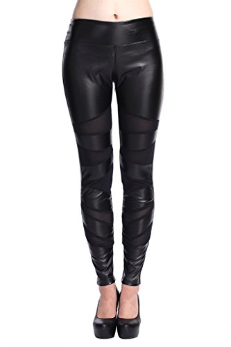 Lotsyle Women's Mesh Panels Faux Leather Leggings Slim Leather ()