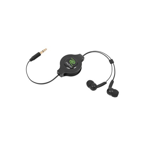 ReTrak Retractable Stereo Earphones, Black (ETAUDIOBUD)