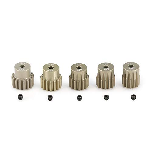 Lovelystar Surpass Hobby 5Pcs 32DP 3.175mm 12T 13T 14T 15T 16T Metal Pinion Motor Gear Set for 1/10 RC Car Truck Brushed Brushless Motor ()