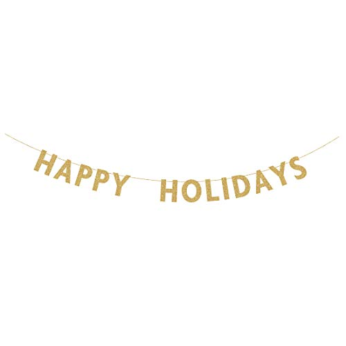MAGJUCHE Happy Holidays Banner Sign, Gold Glitter Christmas Party Decorations, Photo Prop, Supplies